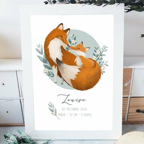 Affiche naissance maman renard et renardeau  personnalisable  a3