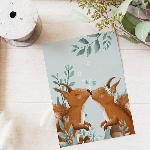 Carte postale écureuils amoureux