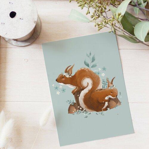 Carte postale écureuil endormi