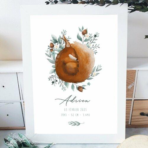 Affiche naissance écureuil endormi personnalisable  a3