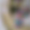 Pendentif réglable, personnage recto verso fille violet pourpre, lilas, vert émeraude, en pâte polymère