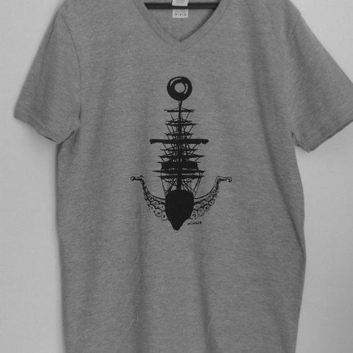 Tee-shirt gris col v homme