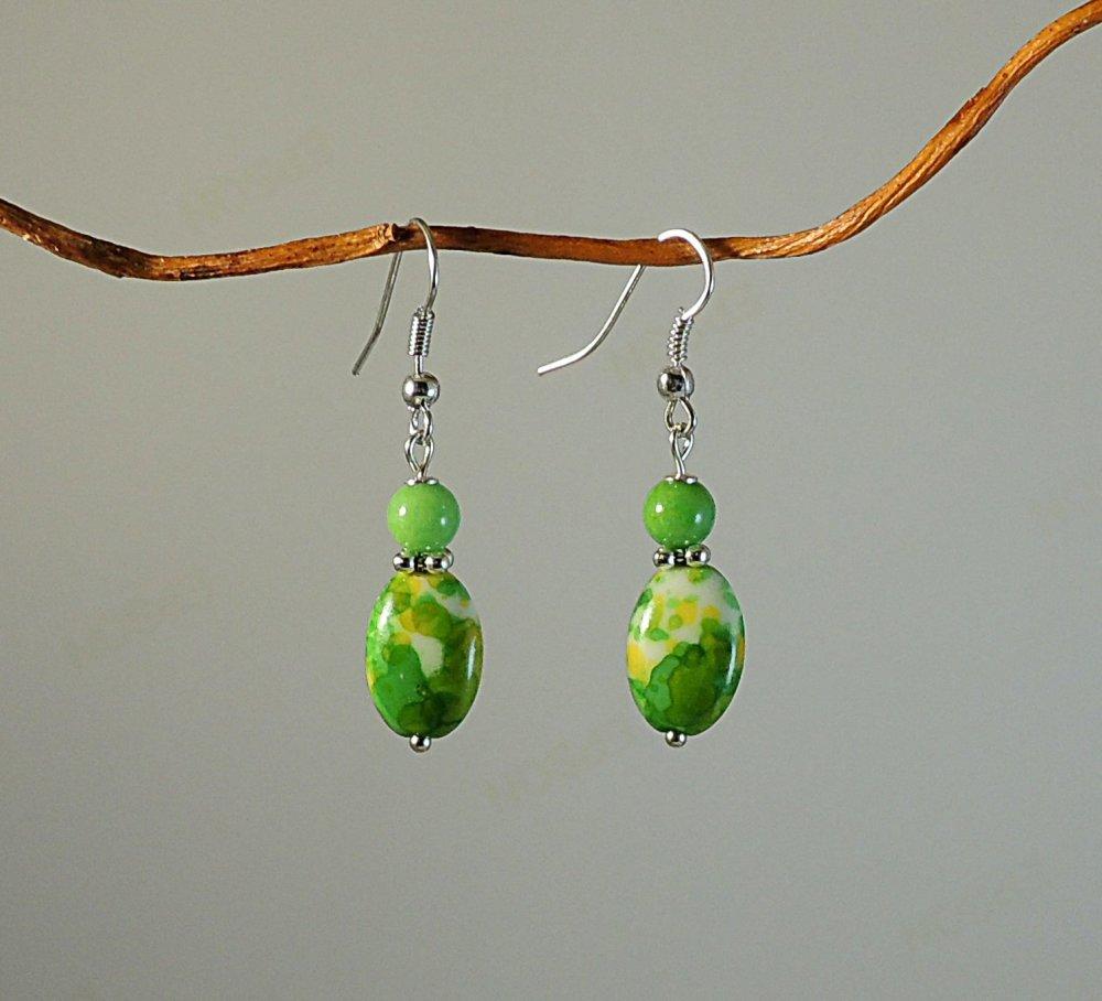 Boucles d'oreilles perles de jade boulier océanique vert, jaune, blanc et métal argenté