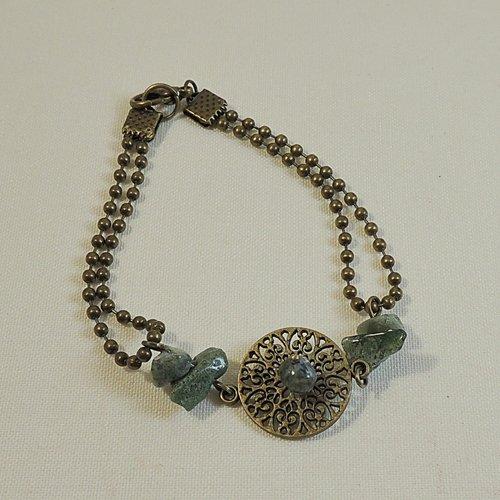 Bracelet pierres en agate indienne verte, connecteur et chaîne bille en métal bronze