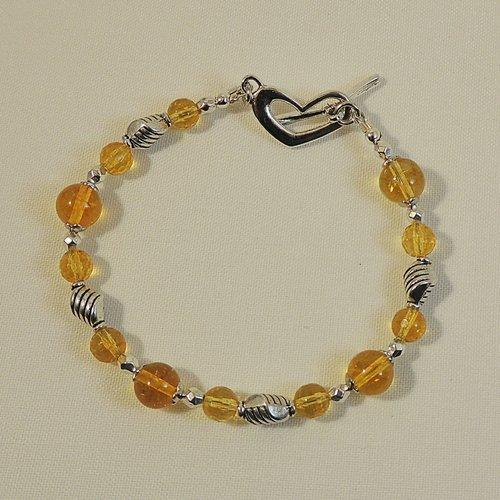 Bracelet perles en citrine et perles losanges en métal argenté