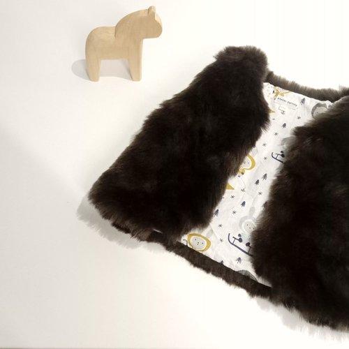 Gilet fausse fourrure marron foncé 18 - 24 mois, motif esquimaux