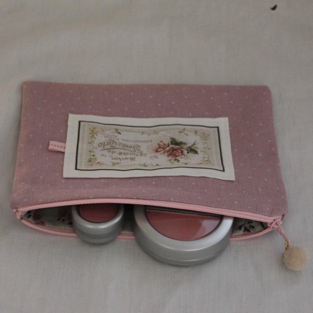 Trousse plate zippée en tissu Lin/Coton-  Coupon motifs - Ruban - Pompon
