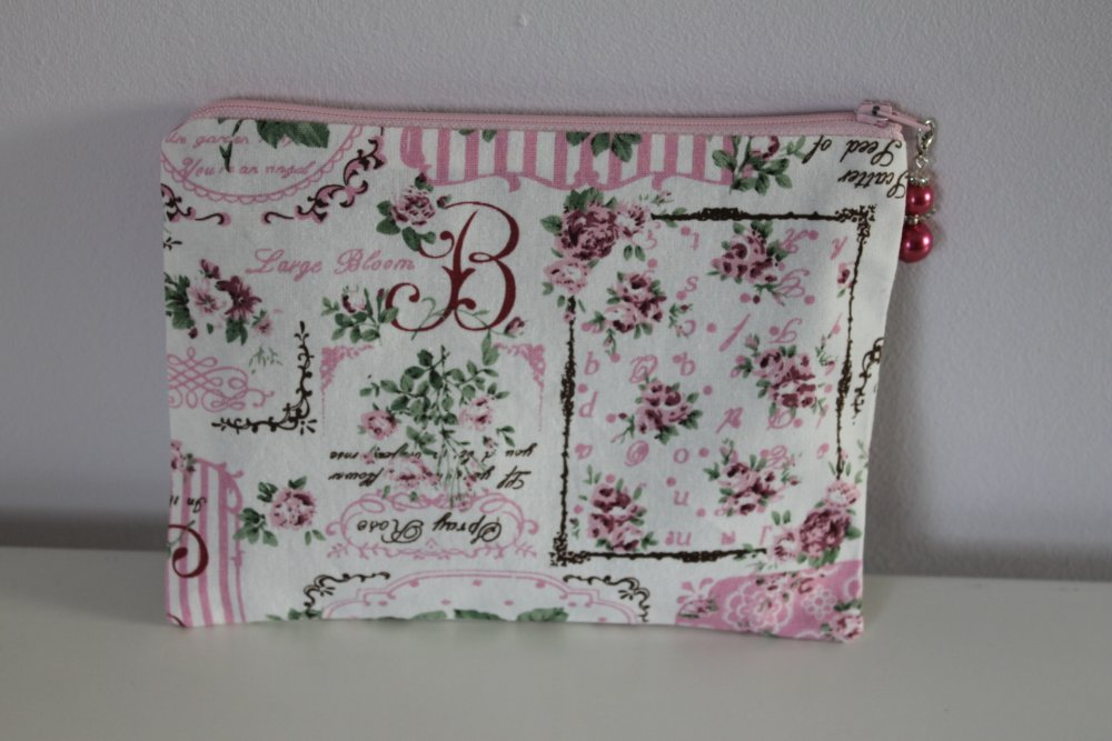 Trousse plate - Style Shabby - Femme - Rangement maquillage, couture, pharmacie - Lin/coton - Charm