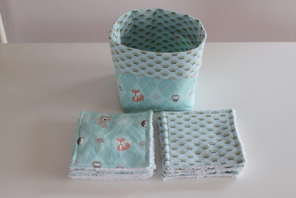 Ensemble de 10 lingettes lavables et panier de rangement - Toilette bébé/enfant - Zéro déchet - Tissu coton - Éponge bambou