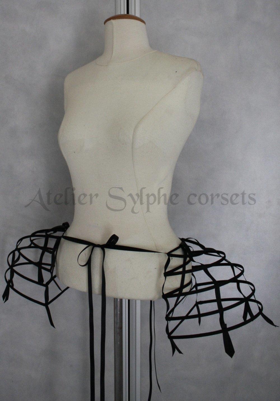 Paniers cerceaux noir crinoline et ruban de satin taille unique