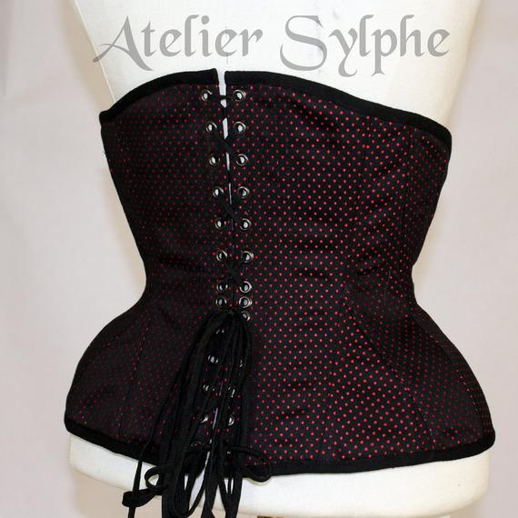 61cm Corset underbust coutil pois noir rouge patronage edwardien tight lacing