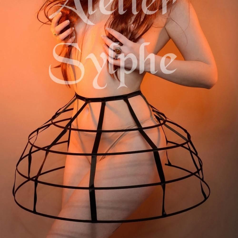 Jupe 4 cerceaux cage crinoline noire