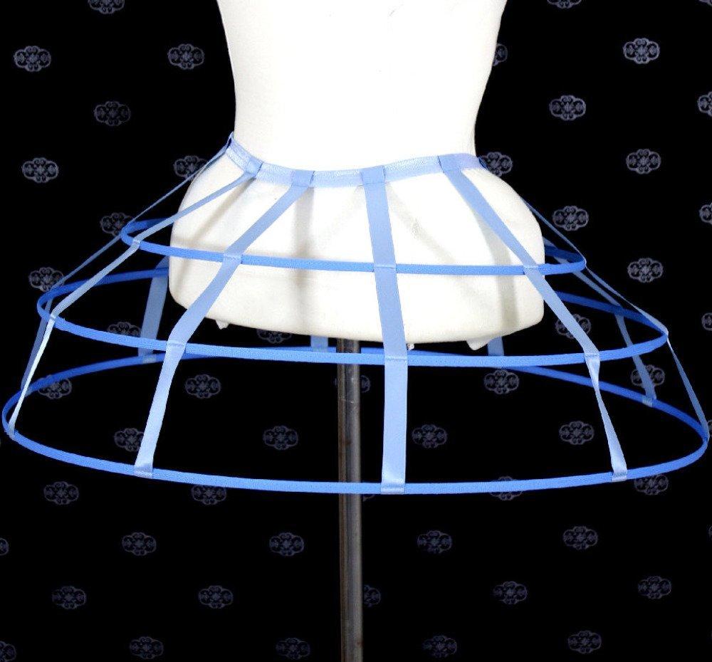 Jupe fantaisie 3 cerceaux crinoline bleu foncé et ruban de satin simple taille