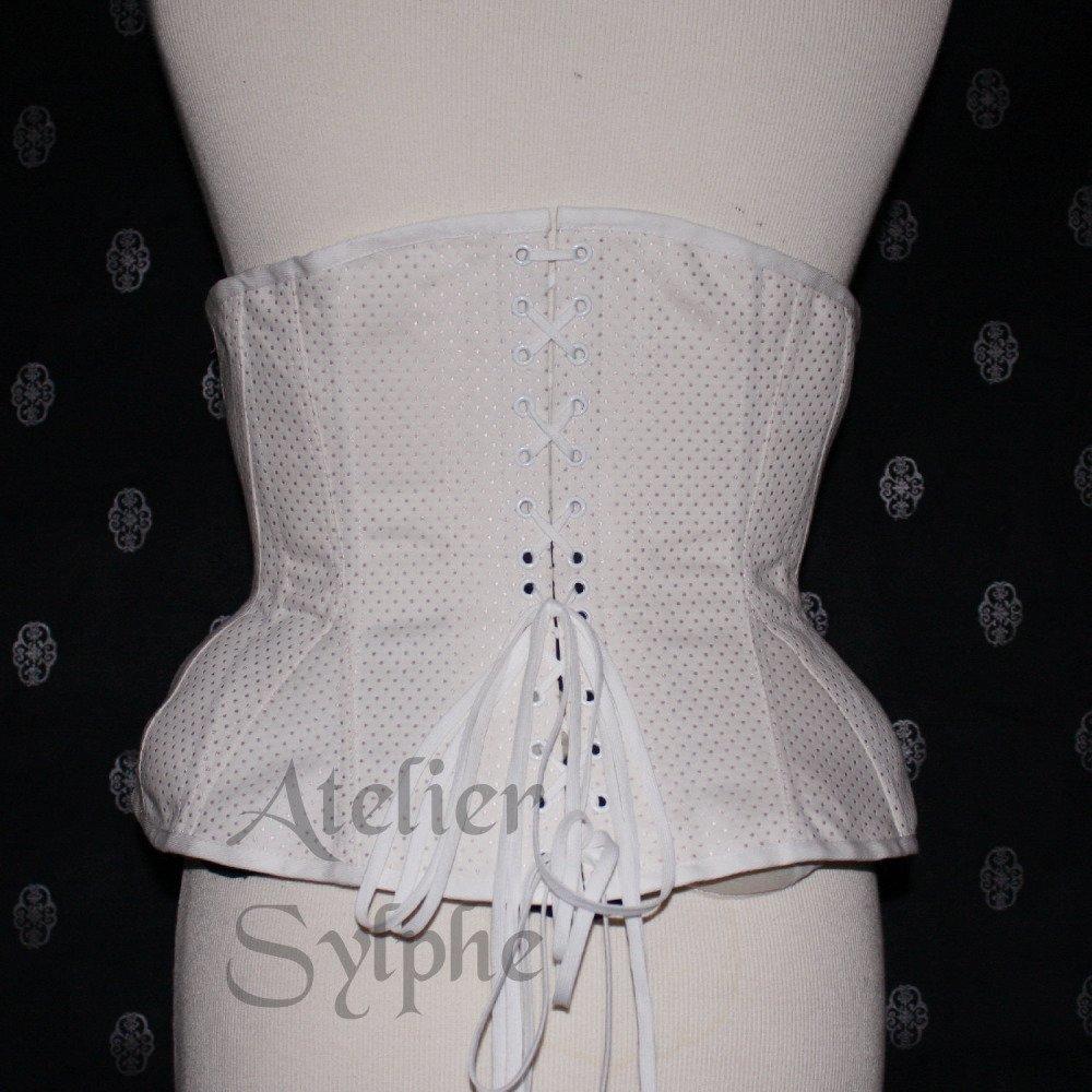 Corset underbust coutil motif pois patronage edwardien tight lacing