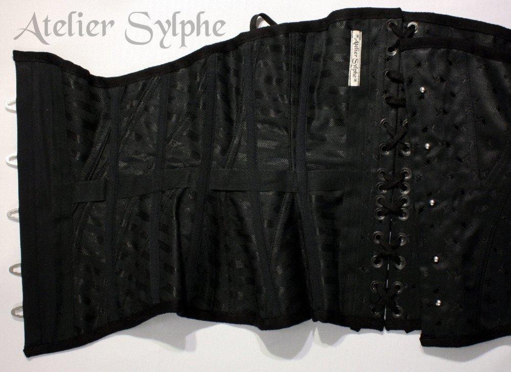 Corset underbust coutil motif tulipe noir patronage edwardien tight lacing 62cm
