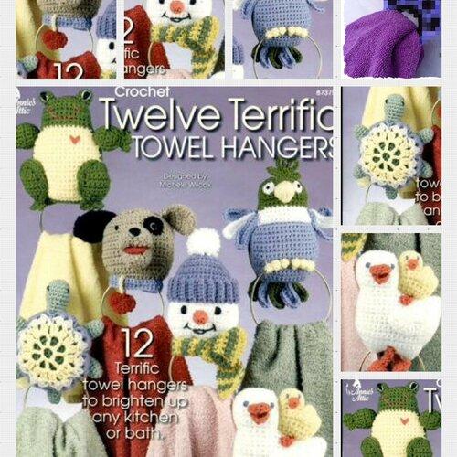 Magazine vintage,modèles personnages au crochet pour décor serviettes .pattern ,pdf anglais + symbole légende anglaise française
