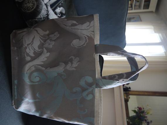 Cabas sac à main réversible 2 sacs en 1 tissu relief - doublé pur lin - Modèle unique