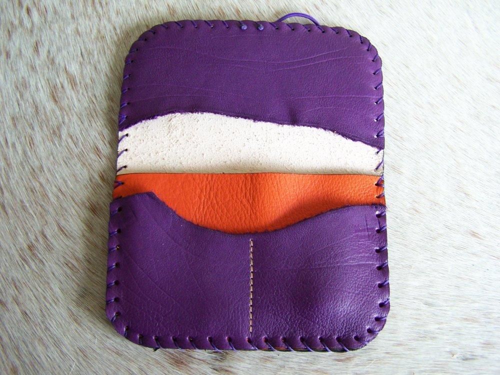 Blague à tabac artisanal, en cuir violet, prune, esprit énergisant, fleur de vie gravée et teinte