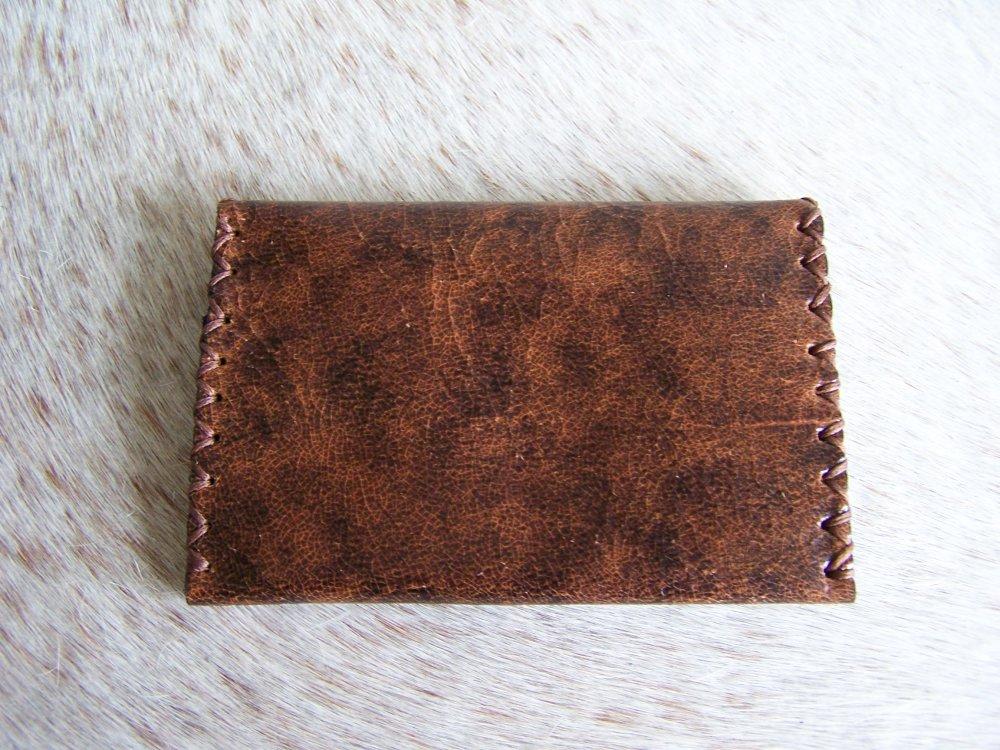Petite blague à tabac en cuir brun vieilli, style blouson aviateur, mini pochette artisanale pour tabac à rouler,