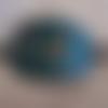 Barrette à cheveux en cuir bleu motif amerindien, loups hurlants, avec pic en bois pour femme ou homme