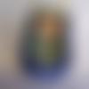 Bourse en cuir bleu et vert, pochette médecine en cuir souple, esprit celtique