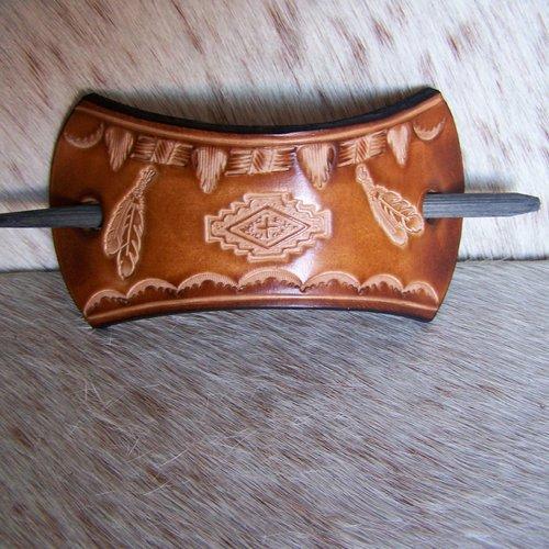 Barrette en cuir brun, taille moyenne à grande, esprit amérindien