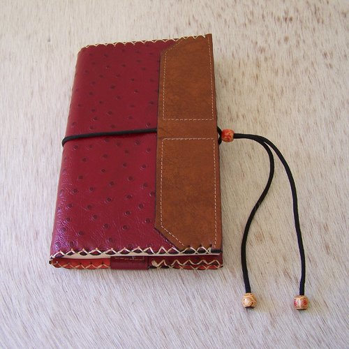 Protège livre en cuir rouge, pour livre jusqu'à 21,5 cm de hauteur
