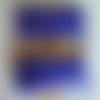 Blague à tabac en cuir artisanale, bleu et jaune,