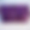Blague à tabac en cuir mauve violet, cuir brute avec marquage naturel, création unique