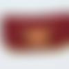Etuis à  lunette en cuir rouge et havane, décoré d'une rose rouge