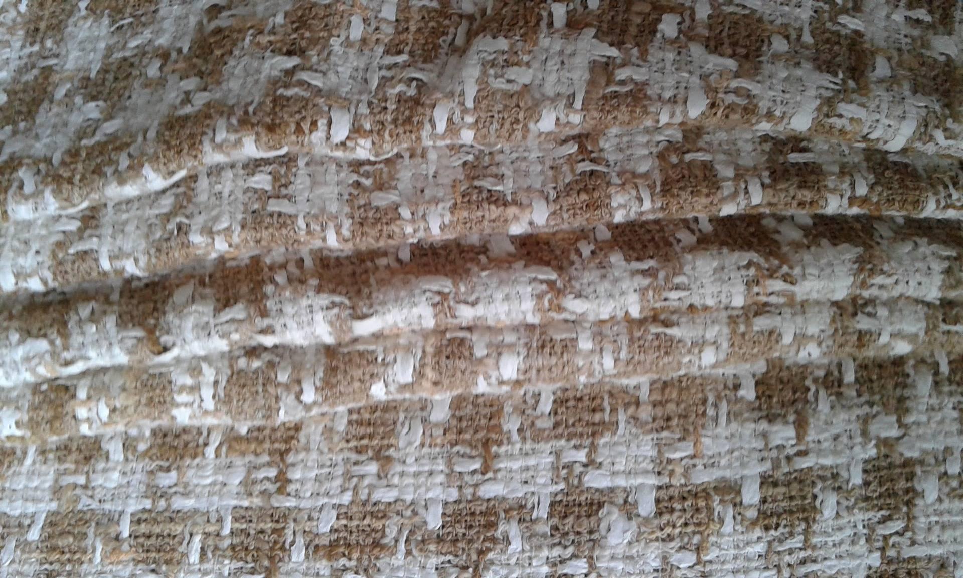 Tissu Tweed, Pied de poule beige en coton et Polyester