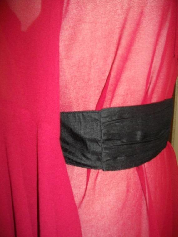 Ceinture couture en soie sauvage noir T 38/40