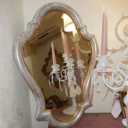 Miroir vintage moulure en bois ,patine à effet gris blanc or