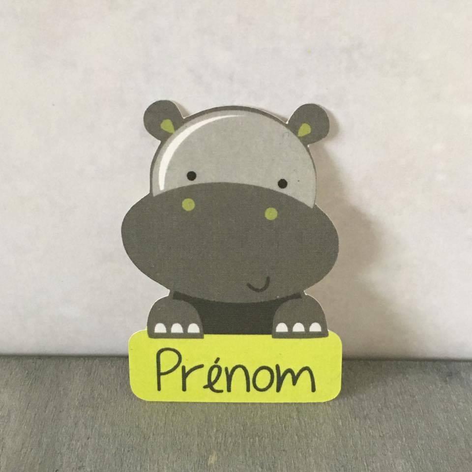 Etiquette forme hippopotame - Vert anis 12 pcs
