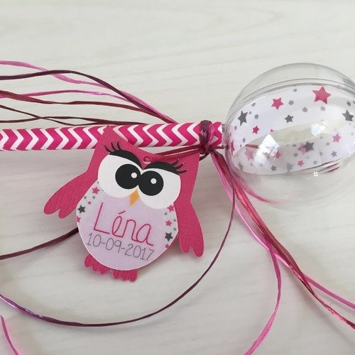Sucette paille boule transparente - boite à dragées baptême communion anniversaire fille - thème décoration hibou chouette