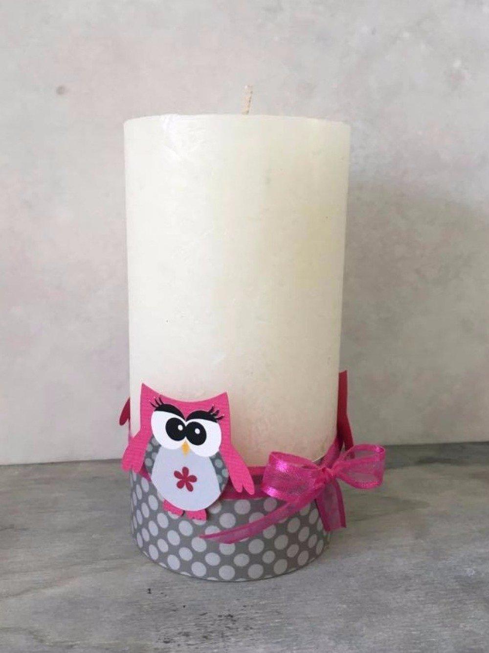 Deco De Table Bougie bougie décoration hibou chouette - décoration de table baptême communion  anniversaire fille