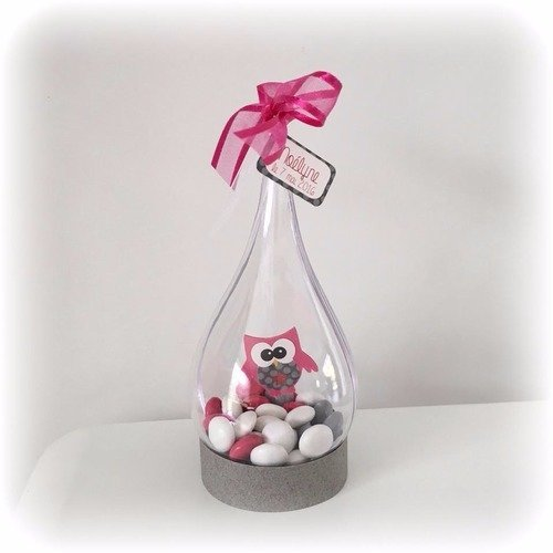 Goutte transparente - boite à dragées baptême communion anniversaire fille - thème décoration hibou chouette