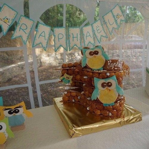 Guirlande lettre papier personnalisée - baptême communion anniversaire - thème hibou bleu jaune vert