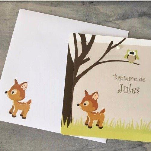 Invitation baptême communion anniversaire bambi-biche - 2 carrés - thème animaux de la forêt