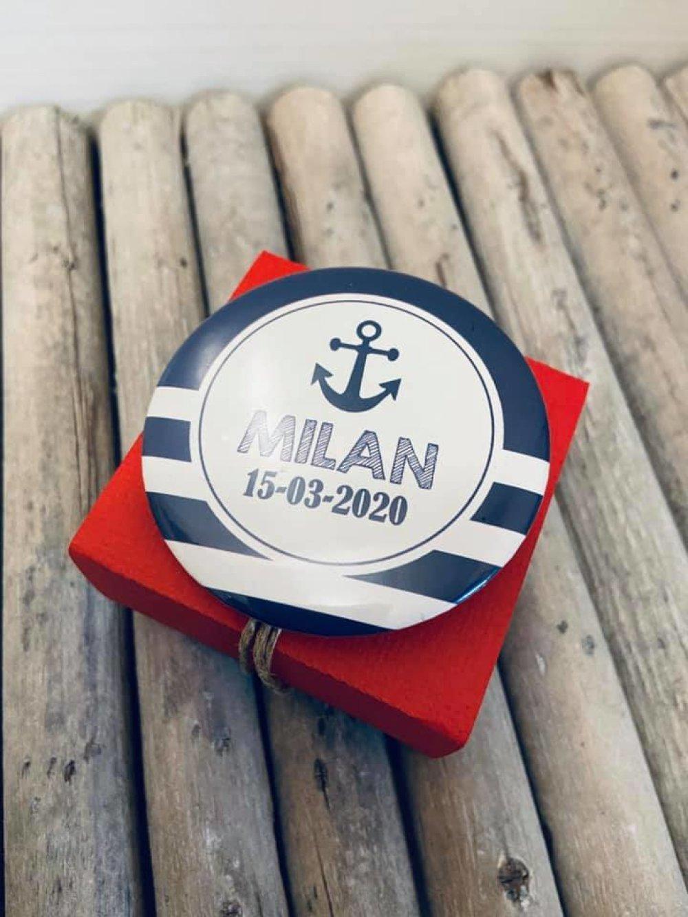 Boite à dragées cube plexi + badge épingle 58mm - thème marin - nautique
