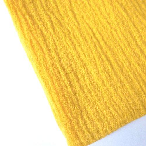 Tissu double gaze au mètre coton uni jaune safran