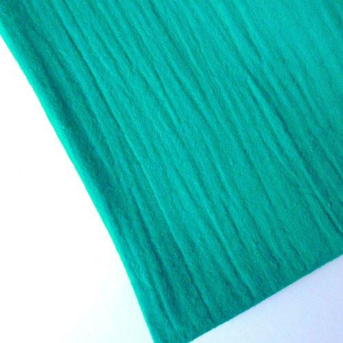 Tissu double gaze au mètre coton uni vert émeraude