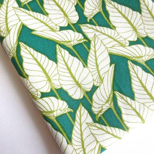 Coupon fat quarter 45 x 50 cm tissu coton motifs feuilles
