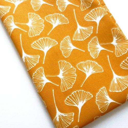 Tissu au mètre coton motifs feuilles ginkgo