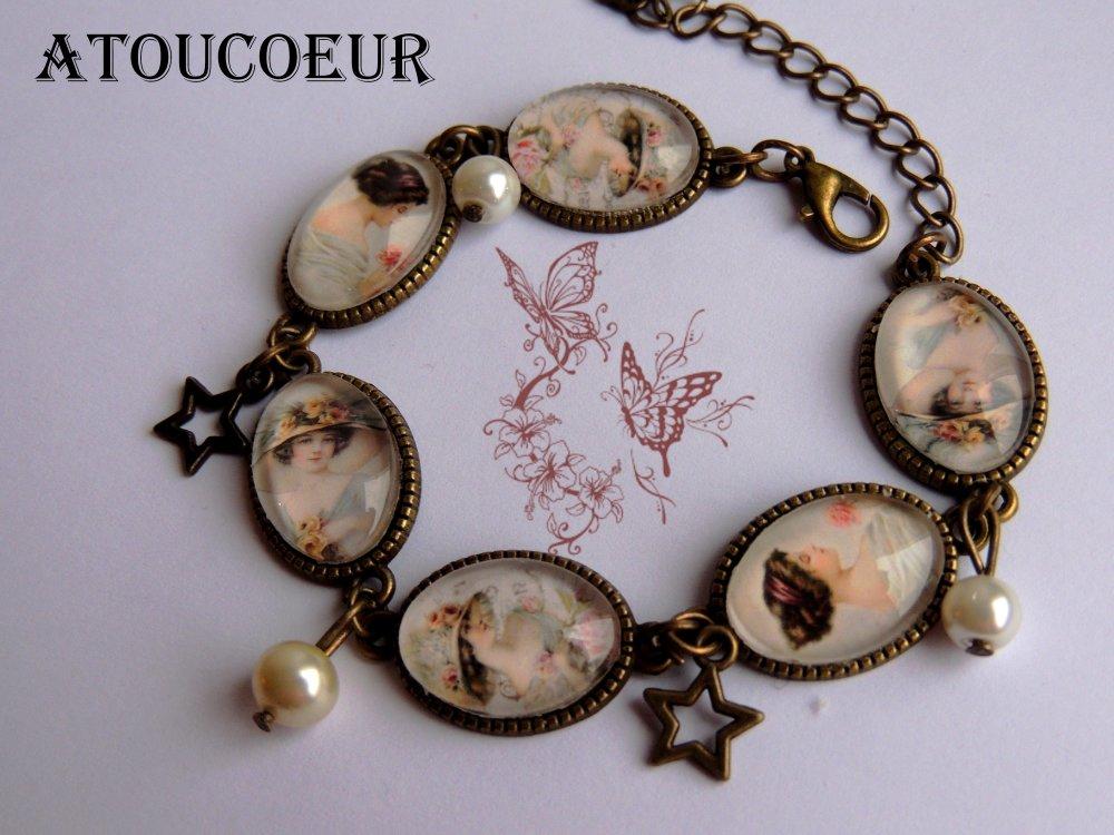 Bracelet Ajustable,Le chic Le chic des femmes d'antan,Vintage.