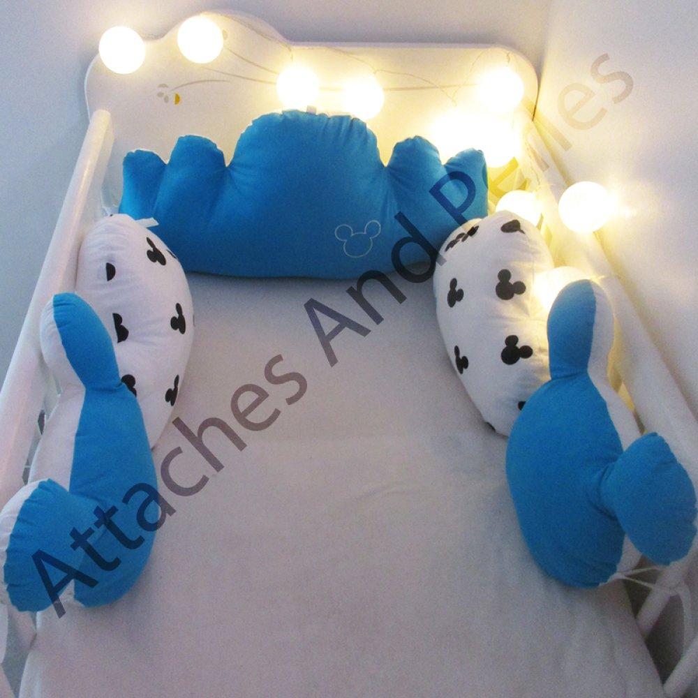 Tour de lit 5 coussins nuage et Mickey turquoise et blanc bébé garçon personnalisable