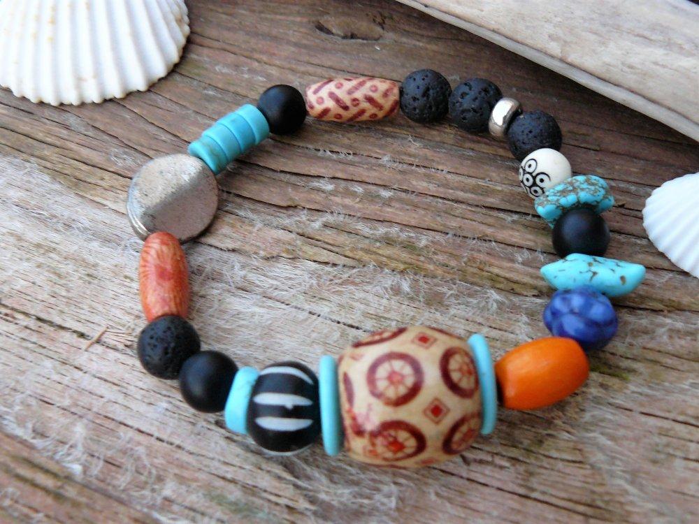 Bracelet femme style bohème en perles, bracelet perles boho, bohème, bijou ethnique, bracelet créateur, bijou ethnique