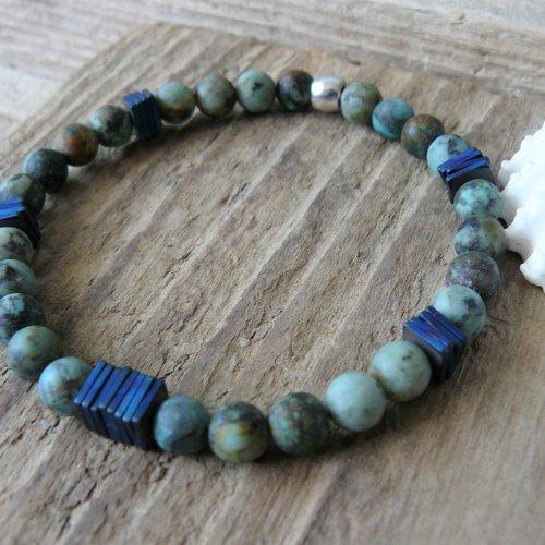 Bracelet hématite turquoise africaine, bracelet turquoise, cadeau homme, bracelet zen, pour lui