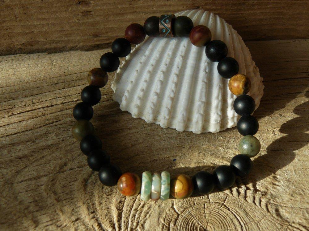 Bracelet aventurine agate et jaspe, bracelet homme, cadeau homme, bracelet original, bijou zen, pour lui