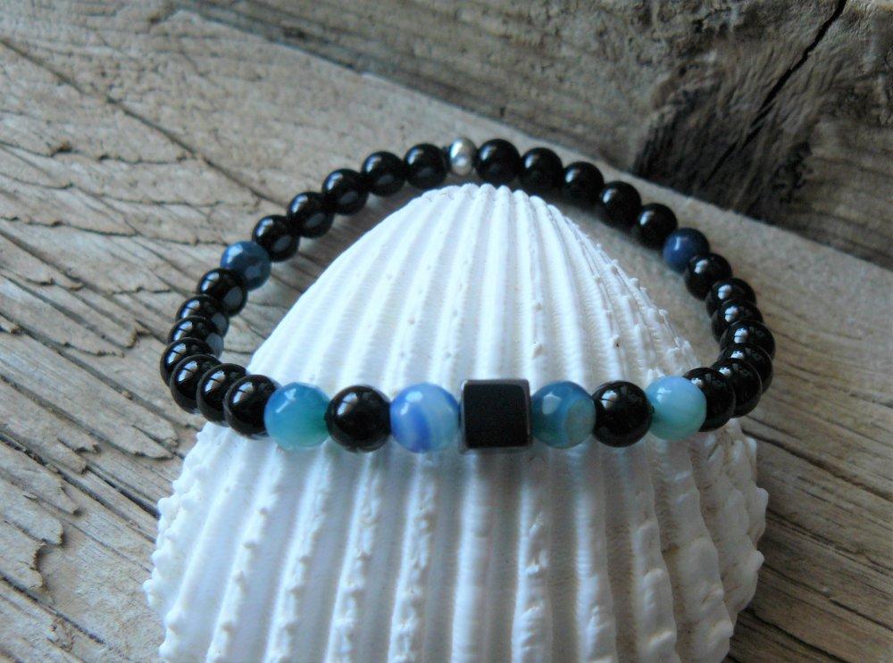 Bracelet agate bleue et obsidienne, Bracelet pierres naturelles, pour lui